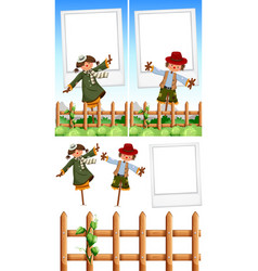 photo frame template with scarecrows vector image