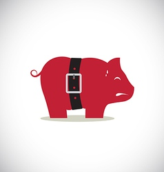 Pink pig piggy bank with tight belt vector image