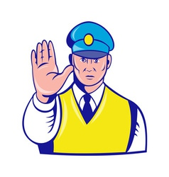 police officer holding hand up vector image