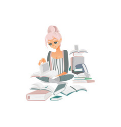 pretty woman reading on floor among many books vector image