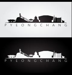 pyeongchang skyline and landmarks silhouette vector image