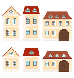 Residential buildings beige houses vector