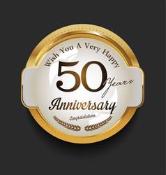 retro vintage style anniversary golden design 50 vector image