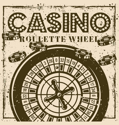 Roulette wheel vintage poster banner for casino vector