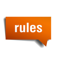 rules orange 3d speech bubble vector image