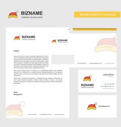 Santa clause cap business letterhead envelope and vector
