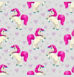 seamless pattern with cute cartoon fairy unicorns vector image