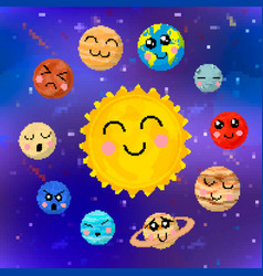 set cartoon planets solar system with cute vector image