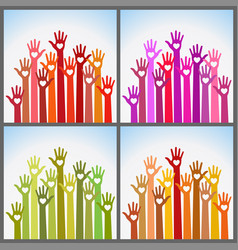 set colorful volunteers caring up hands hearts vector image