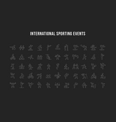 set line icons international sporting events vector image