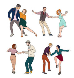 Set of a young couple dancing lindy hop vector