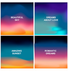 Set of four blurred backgrounds sunset and vector