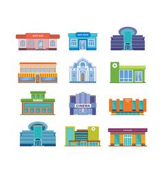 Set of modern urban buildings facades and vector