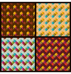 set of patterns with rhombuses and zigzags vector image
