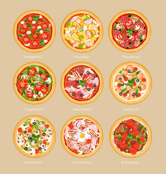 set of pizza with different vector image