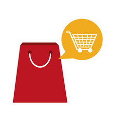 shopping bag with cart bubble vector image