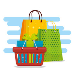 shopping bags with basket and present sale vector image