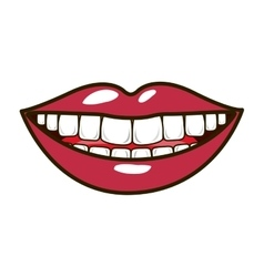 silhouette smiling lips with teeths and tongue vector image