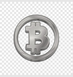 silver bitcoin trendy 3d style icon vector image