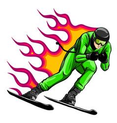 Smiling cartoon skier mountain skiing sportsman vector