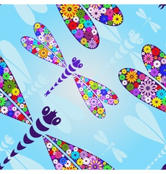 Spring seamless pattern with floral dragonflies vector