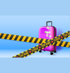 Stay home concept plastic suitcase on blue vector
