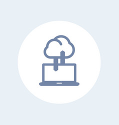 Sync with cloud icon isolated on white vector
