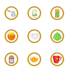 Tea time icon set cartoon style vector