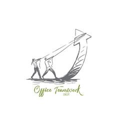 teamwork arrow growth business progress vector image