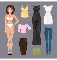 Template paper doll vector image