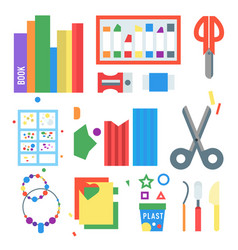 Themed kids creativity creation symbols poster in vector