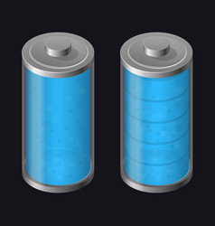 Transparent glass battery full charging blue vector