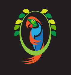 tropical bird parrot cartoon vector image