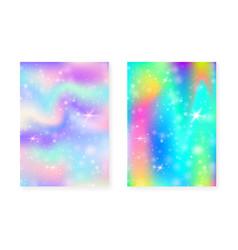 unicorn background with kawaii magic gradient vector image