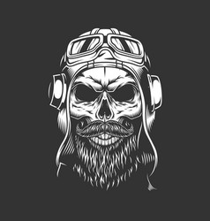 Vintage bearded and mustached pilot skull vector