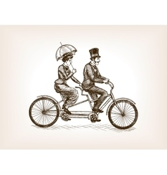 Vintage lady and gentleman bicycle sketch vector image