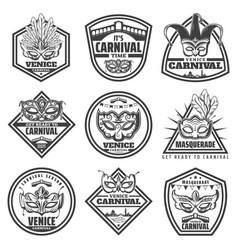 vintage monochrome venice carnival labels set vector image
