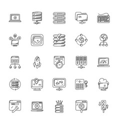 Web hosting doodle icons set vector