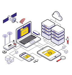 web hosting isometric composition vector image