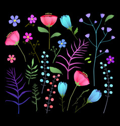 Wild flowers flat set isolated vector