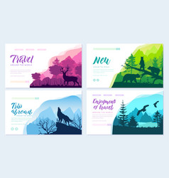Wild life in nature brochure cards set vector