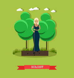 Woman singer in flat style vector