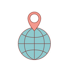 World globe and map pointer on top in colorful vector