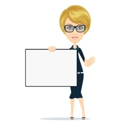 Business women holding big blank paper vector image