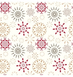 Christmas seamless pattern Snowflakes Red gold vector image