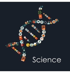 DNA icon shape with symbols of science vector image vector image