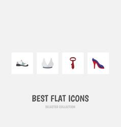 Flat icon garment set of brasserie cravat heeled vector