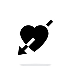 Heart with arrow icon on white background vector image vector image