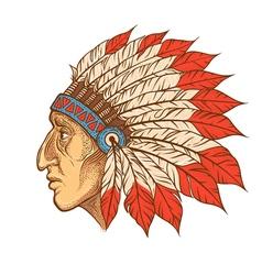 Native American Indian chief head profile vintage vector image