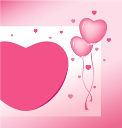 Pink heart balloon design for valentines day vector image